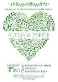Convite do casamento Cimposition verde do coração dos ramos da aquarela ilustração royalty free