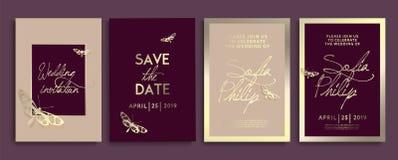 Convite do casamento com flores, anjos e borboletas na textura do ouro cartão de casamento luxuoso em fundos do ouro, tampas artí ilustração stock
