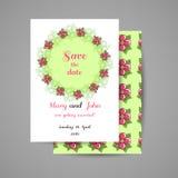 Convite do casamento com flores cor-de-rosa Imagem de Stock Royalty Free