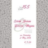 Convite do casamento com fundo do laço Fotografia de Stock Royalty Free