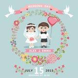 Convite do casamento com noiva do bebê, noivo, grinalda floral ilustração stock