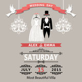Convite do casamento com noivo e noiva da roupa vintage ilustração stock