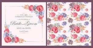 Convite do casamento com rosas e plantas carnudas da peônia Foto de Stock