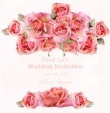 Convite do casamento com vetor das rosas Fundos 3d florais do cartão bonito Imagem de Stock Royalty Free