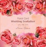 Convite do casamento com vetor das rosas Fundos 3d florais do cartão bonito Fotografia de Stock Royalty Free