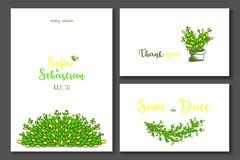 Convite do casamento do verde amarelo ilustração do vetor