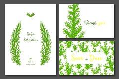 Convite do casamento do verde amarelo ilustração stock