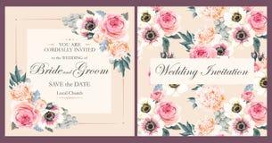 Convite do casamento do vintage Fotografia de Stock