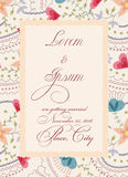 Convite do casamento do vintage com a bandeira de papel rasgada ilustração royalty free