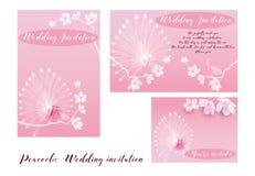 Convite do casamento dos pavões Fotografia de Stock