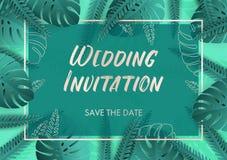 Convite do casamento em cores da cerceta com detalhes de prata e as folhas tropicais ilustração do vetor