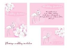 Convite do casamento do flamingo Imagens de Stock Royalty Free