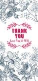 Convite do casamento Flores bonitas O vintage agradece ao cartão Quadro Gravura do desenho Imagem de Stock Royalty Free