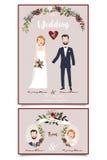 Convite do casamento Ilustração nupcial dos pares Design floral com texto escrito à mão Fotografia de Stock Royalty Free