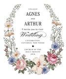 Convite do casamento Malva bonita do hibiscus de Rosa da camomila das flores Foto de Stock Royalty Free