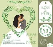 Convite do casamento O verde ramifica coração, beijando a noiva, noivo ilustração stock