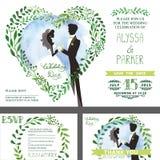 Convite do casamento O verde ramifica coração, noiva, noivo, céu ilustração do vetor