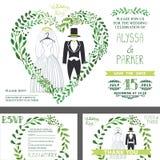 Convite do casamento O verde ramifica coração, roupa do casamento ilustração stock