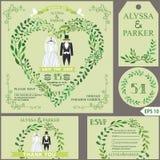Convite do casamento O verde ramifica coração, roupa do casamento ilustração royalty free