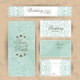 Convite do casamento, obrigado cardar, salvar os cartões de data Cartão de RSVP ilustração stock