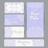 Convite do casamento, obrigado cardar, salvar os cartões de data Cartão de RSVP ilustração royalty free