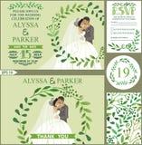 Convite do casamento Os ramos verdes envolvem-se, beijando a noiva, noivo ilustração do vetor