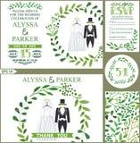 Convite do casamento Ramos verdes grinalda, roupa do casamento ilustração stock