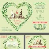 Convite do casamento Ramos verdes, noiva, noivo, bicicleta retro ilustração stock