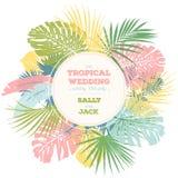 Convite do casamento do vintage Projeto tropical na moda das folhas Imagens de Stock Royalty Free
