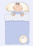 Convite do chuveiro de bebê com uma criança que dorme em olá! Fotos de Stock Royalty Free