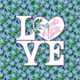 Convite do dia de Valentim, cartão do feriado com teste padrão Fotografia de Stock