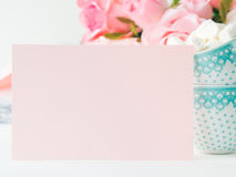 Convite do dia do ` s do Valentim do cartão do rosa do papel vazio Fotografia de Stock Royalty Free
