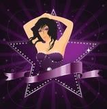 Convite do partido com menina e estrela do encanto ilustração royalty free
