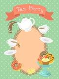 Convite do partido de chá Fotografia de Stock