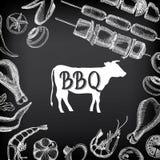 Convite do partido do assado Projeto do menu do molde do BBQ Inseto do alimento Fotografia de Stock Royalty Free