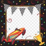 Convite do partido do carro de corridas Fotografia de Stock