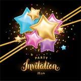 Convite do ramalhete do balão da estrela da cor do ouro Foto de Stock Royalty Free