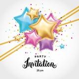 Convite do ramalhete do balão da estrela do ouro Foto de Stock
