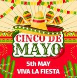 Convite do vetor da festa de Cinco de Mayo Mexican ilustração stock