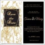 Convite dourado luxuoso do molde no fundo do mármore do ouro ilustração do vetor