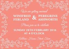 Convite elegante branco e coral do casamento do quadro do redemoinho Fotos de Stock Royalty Free