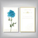 Convite elegante com a rosa especial do azul Fotografia de Stock Royalty Free
