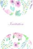 Convite floral da aquarela para a celebração, casamento Imagem de Stock