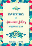 Convite floral para o dia do casamento ou a alguma outra celebração Flores vermelhas, azuis, verdes e amarelas colocadas aleatori Foto de Stock Royalty Free