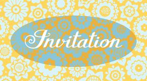 Convite, fundo floral, amarelo-azul, vetor, inglês Fotos de Stock
