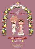 Convite indiano do rosa de Cartoon Romantic Dark da noiva & do noivo do casamento Fotografia de Stock