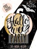 Convite luxuoso do brilho da ilustração do vetor de Dia das Bruxas party Fotos de Stock Royalty Free