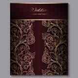 Convite luxuoso real vermelho excelente do casamento, fundo floral do ouro com quadro e lugar para o texto, folha la?ado feita da ilustração do vetor