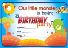 Convite nenhum da festa de anos dos monstro 1 Imagens de Stock Royalty Free