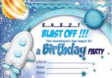 Convite nenhum do aniversário do espaço 1 Fotografia de Stock Royalty Free